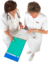 Nurse Looking At Patient Chart